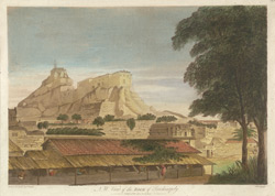 'N. W. View of the Rock of Trichinopoly'. Coloured aquatint by J. Wells after a drawing by Capt. Trapaud, 1788
